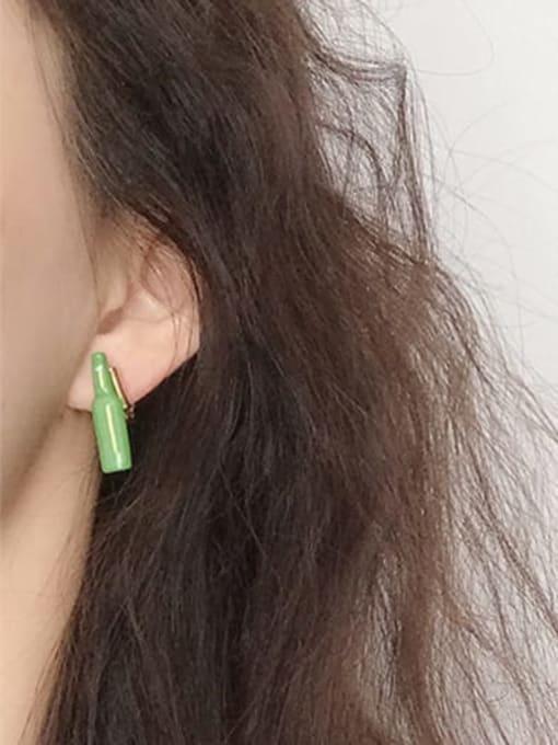 Five Color Alloy Enamel Geometric Minimalist  Wine bottle Stud Earring 1
