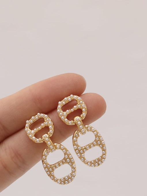 HYACINTH Brass Imitation Pearl Geometric Vintage Drop Earring 1