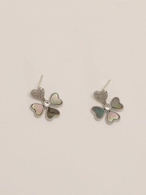 White K Brass Shell Flower Minimalist Stud Earring