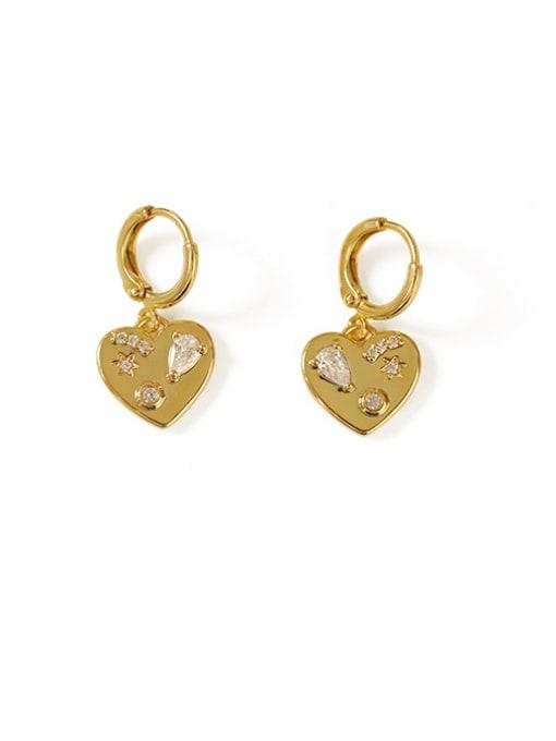 ACCA Brass Cubic Zirconia Heart Vintage Huggie Earring 0
