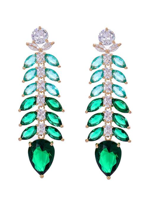 green Brass Cubic Zirconia Leaf Luxury Drop Earring