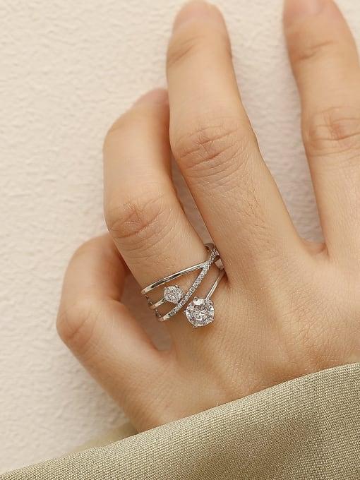 HYACINTH Brass Rhinestone Cross Minimalist Stackable Ring 1