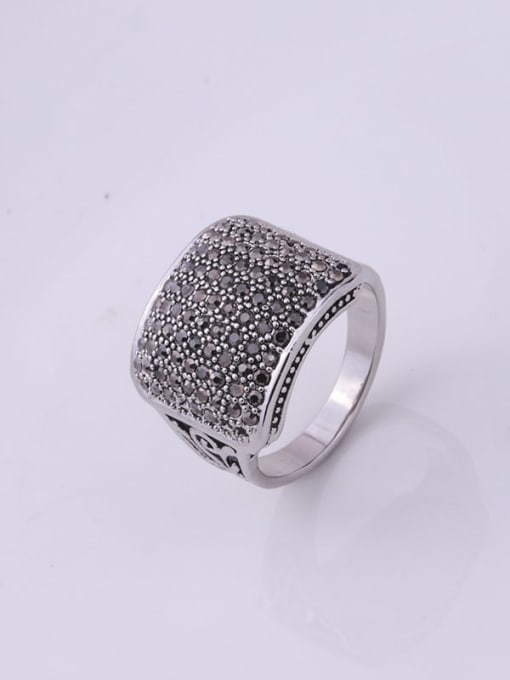 HISON Alloy Cubic Zirconia Geometric Vintage Band Ring 1