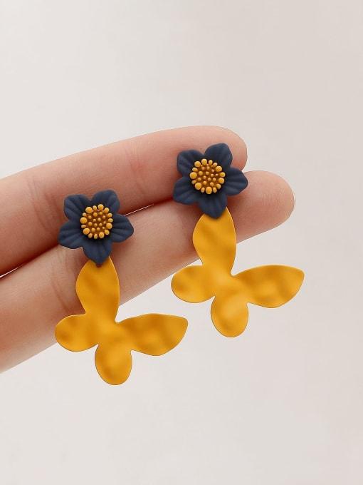 HYACINTH Brass Enamel Flower Vintage Drop Earring 3