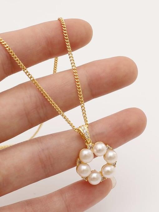 HYACINTH Brass Imitation Pearl Geometric Minimalist Necklace 1