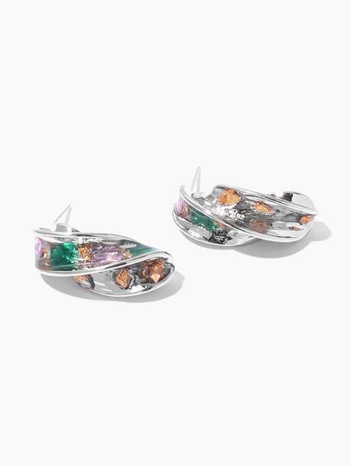 Zircon Earrings Brass Imitation Pearl Geometric Hip Hop Stud Earring