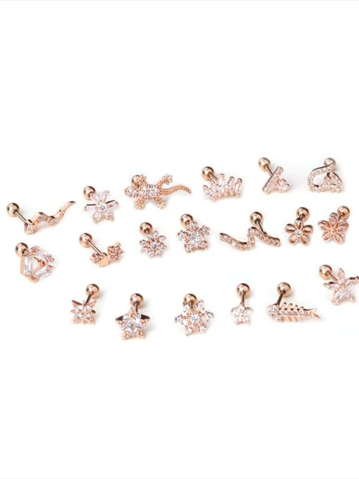 HISON Brass Cubic Zirconia Rosary Hip Hop Stud Earring 4