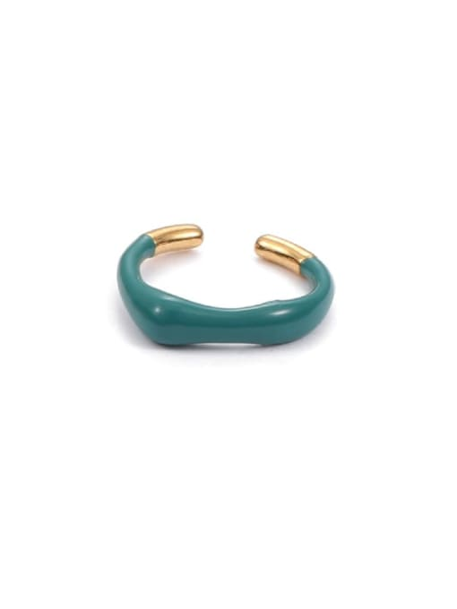 Green (non adjustable) Zinc Alloy Enamel Geometric Minimalist Band Ring