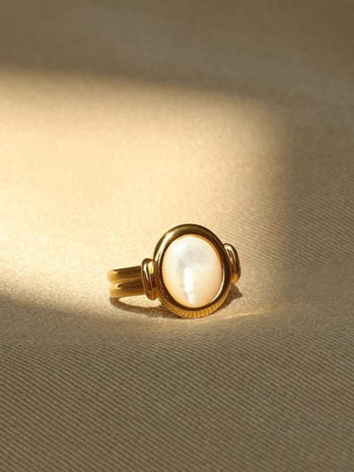ACCA Brass Shell Geometric Vintage Band Ring 1