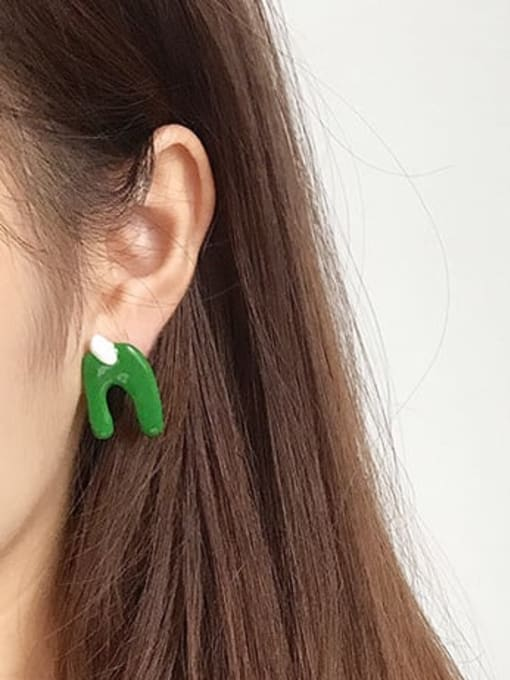 Five Color Alloy Enamel Cute Individuality abstract lines contrast color  Single Earring 2
