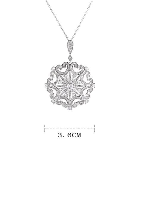 YILLIN Brass Cubic Zirconia Flower Dainty Necklace 3