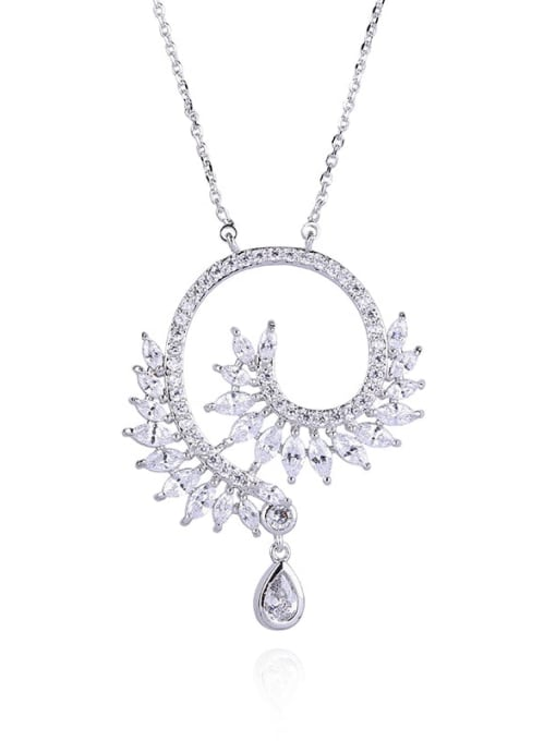 YILLIN Alloy Cubic Zirconia Heart Statement Necklace 0