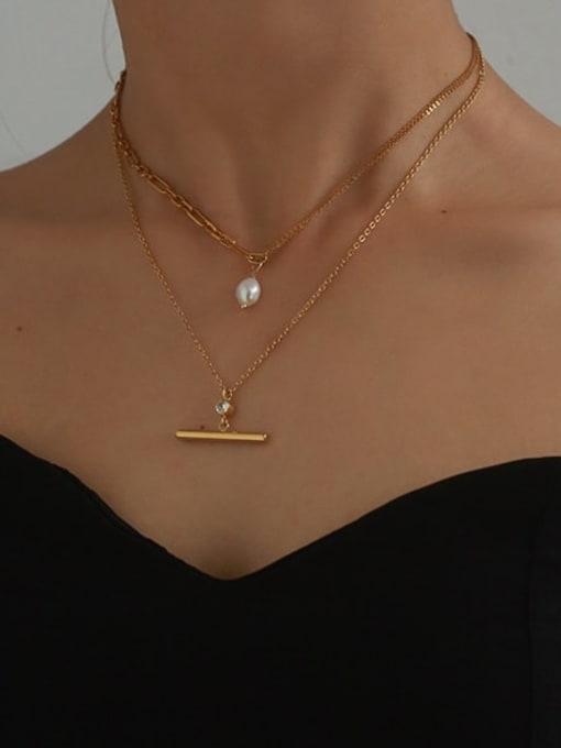 Five Color Brass Imitation Pearl Geometric Vintage Necklace 1