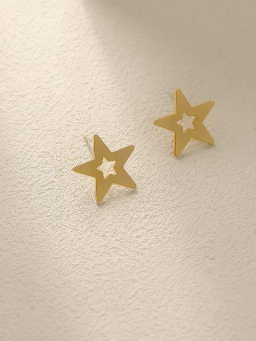 Dumb gold Brass  Hollow Star Minimalist Stud Earring
