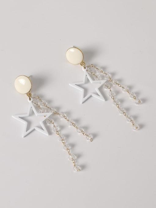 gold Brass Enamel Five Pointed Star Crystal Tassel  Drop Earring