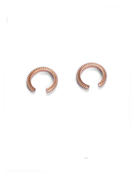 Golden pair Brass Geometric Hip Hop Single  Ear clip Earring
