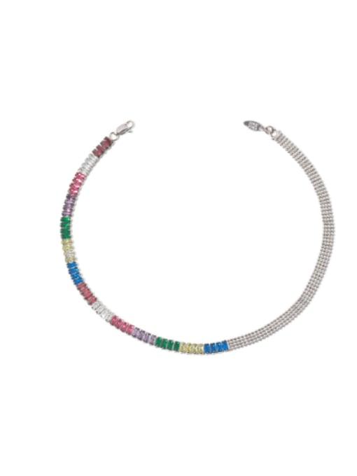 Rainbow Zircon Necklace Brass Cubic Zirconia Rainbow Vintage Necklace