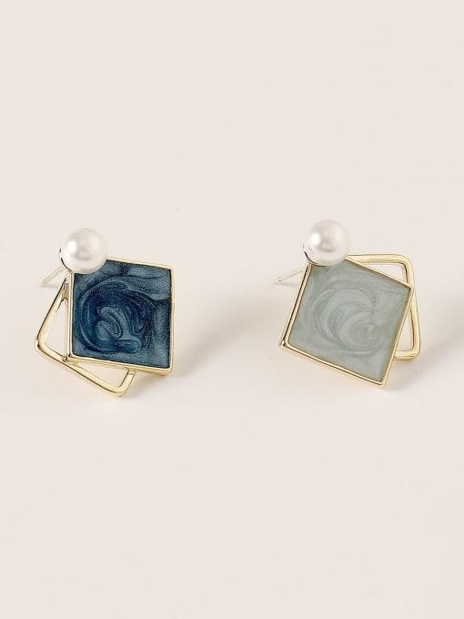 HYACINTH Brass Enamel Geometric Vintage Stud Earring 0