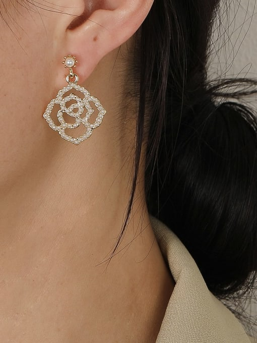 HYACINTH Brass Imitation Pearl Geometric Bohemia Hook Earring 2