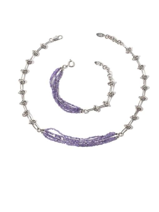 TINGS Brass Bead Geometric Vintage Multi Strand Necklace
