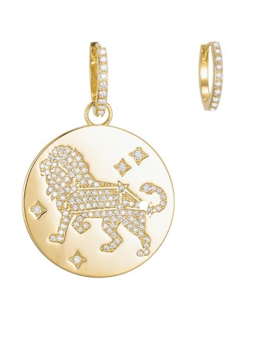 Style 1 Leo Brass Cubic Zirconia Geometric Minimalist Huggie Earring