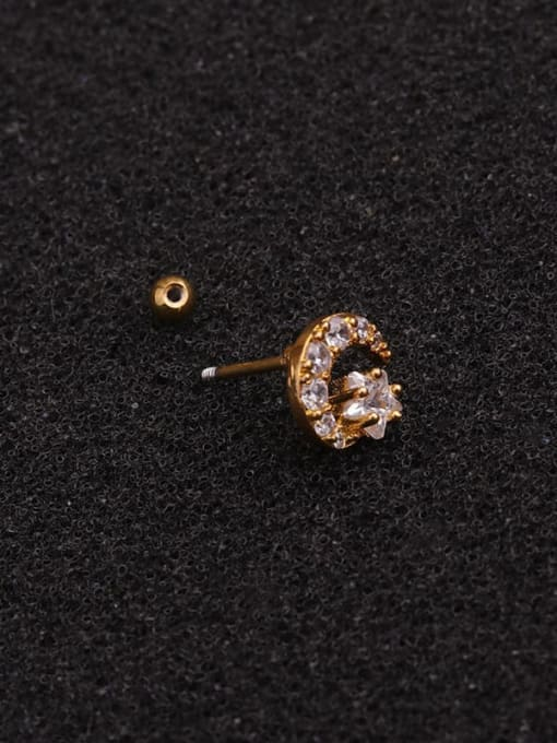 HISON Brass Cubic Zirconia Star Minimalist Stud Earring 3