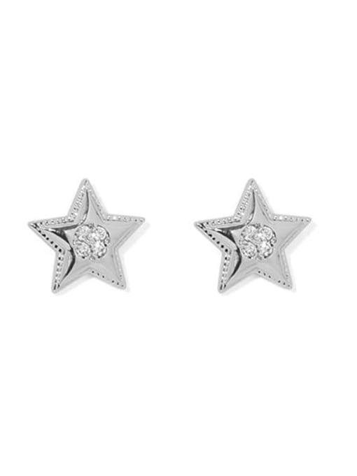 Platinum Brass Star Minimalist Stud Earring