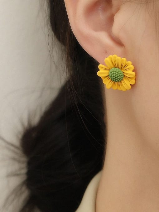 HYACINTH Brass Enamel Flower Cute Stud Earring 1