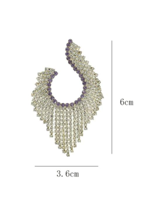 SUUTO Brass Cubic Zirconia Tassel Luxury Cluster Earring 2