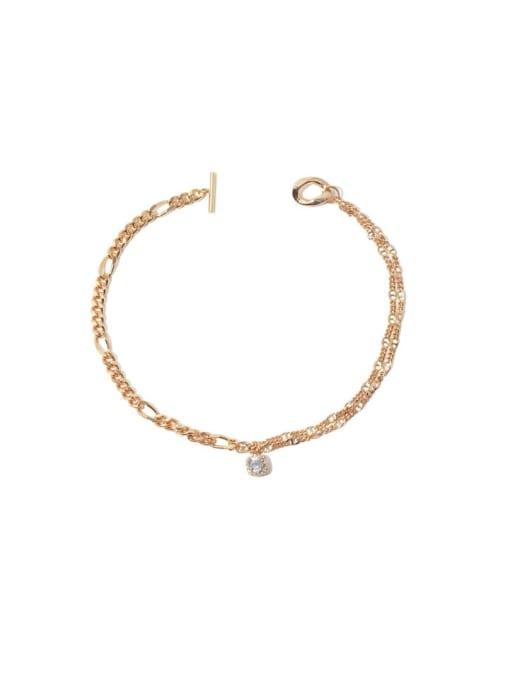 golden Brass Cubic Zirconia Geometric Vintage Necklace