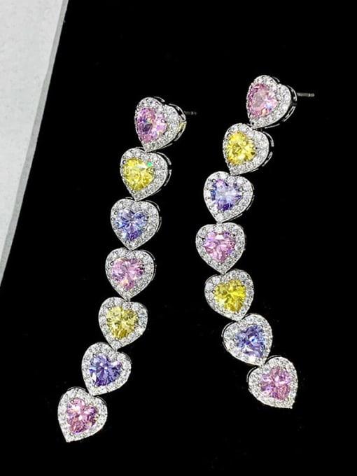 colour Brass Cubic Zirconia Heart Trend Drop Earring