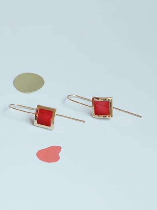 gules Alloy Enamel Geometric Vintage Hook Earring