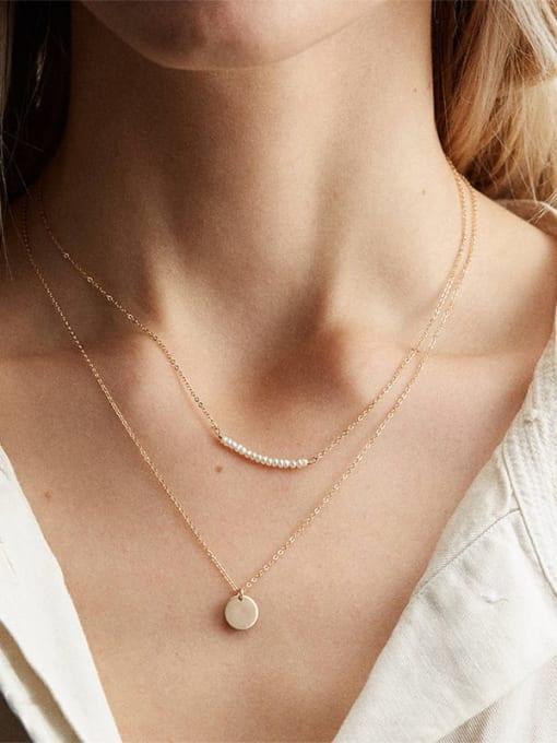 Desoto Stainless steel Geometric Minimalist Multi Strand Necklace 1