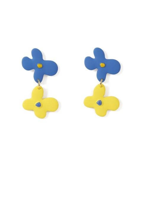 Five Color Alloy Enamel Flower Cute Drop Earring