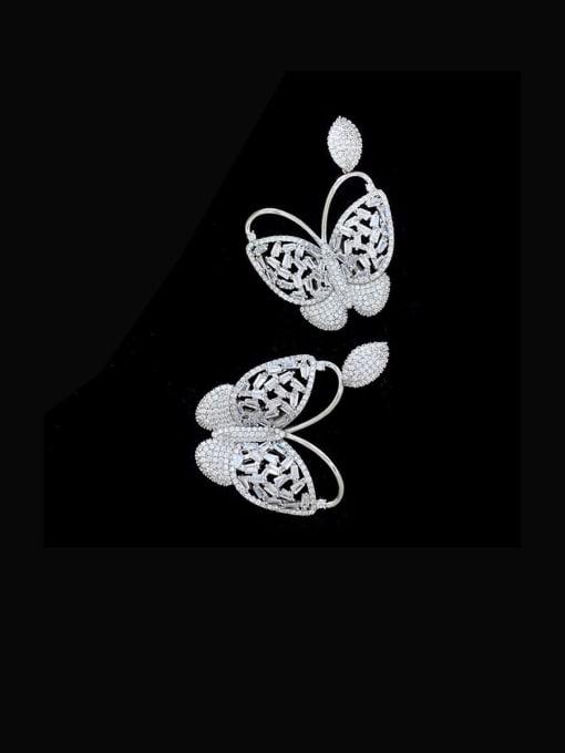 platinum Brass Cubic Zirconia Butterfly Vintage Stud Earring