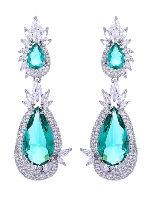 OUOU Brass Cubic Zirconia Water Drop Luxury Drop Earring 3