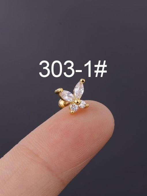 1(Single) Brass Cubic Zirconia Butterfly Cute Stud Earring