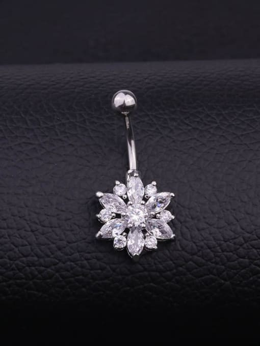 HISON Stainless steel Cubic Zirconia Flower Hip Hop Belly studs & Belly Bars