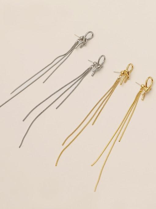 HYACINTH Brass Tassel Minimalist Threader Earring 2