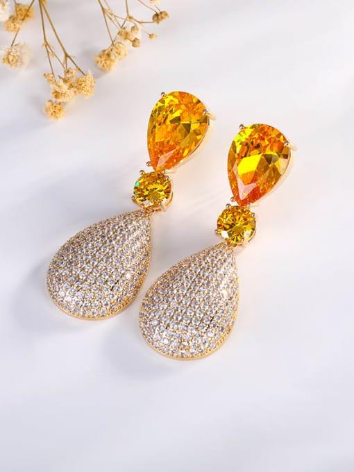 Gold Brass Cubic Zirconia Water Drop Luxury Drop Earring