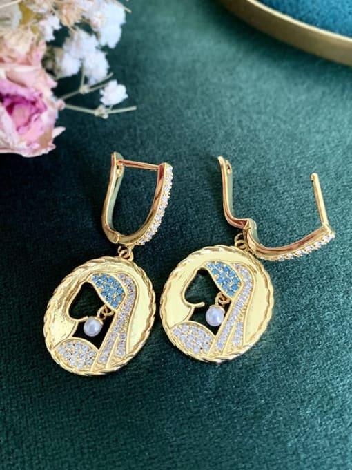 SUUTO Brass Cubic Zirconia Geometric Vintage Huggie Earring 3