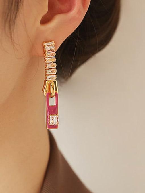 Plum oil dripping Earrings Brass Cubic Zirconia Rectangle Minimalist Drop Earring