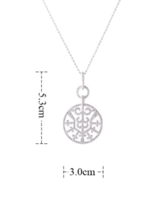 YILLIN Brass Cubic Zirconia Round Minimalist Necklace 2
