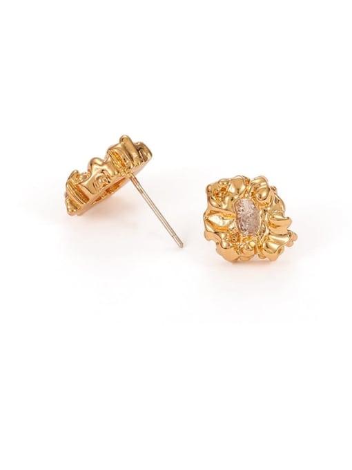 golden Brass Cubic Zirconia Irregular Hip Hop Stud Earring