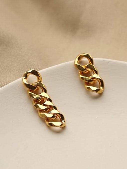 ACCA Brass Hollow Geometric Chain Asymmetry Minimalist Drop Earring 0