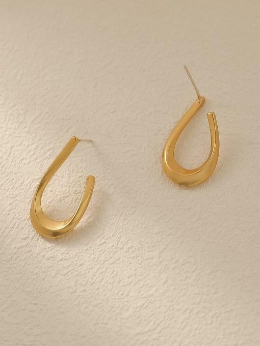 HYACINTH Brass Smooth Geometric Vintage Stud Trend Korean Fashion Earring 2