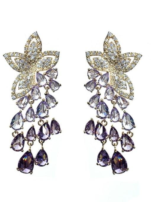 purple Brass Cubic Zirconia Flower Ethnic Drop Earring