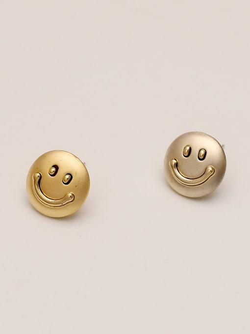 HYACINTH Brass Smiley Minimalist Stud Earring 3