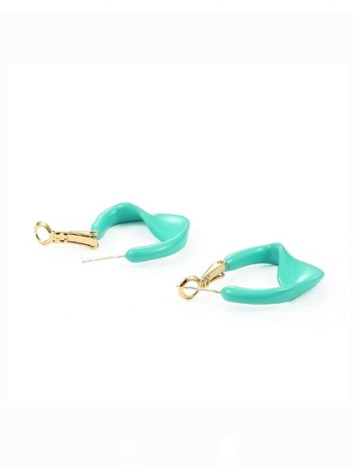 Five Color Brass Enamel Geometric Minimalist Huggie Earring 2