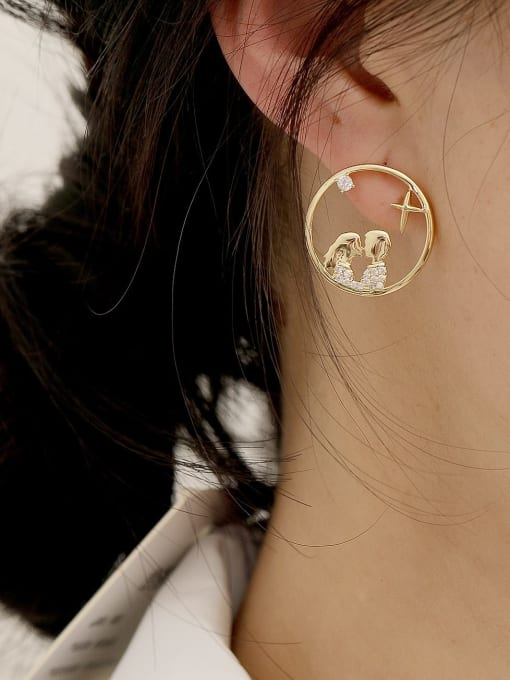 HYACINTH Brass Cubic Zirconia Geometric Hip Hop Stud Earring 1